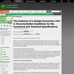 The Anatomy of a Design Document, Part 2: Documentation Guidelines for the Functional and Technical Specifications