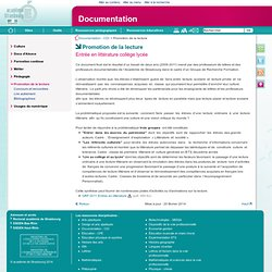Promotion de la lecture - Documentation