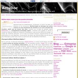 Wolfram Alpha, moteur pour des questions factuelles - ActuDoc -