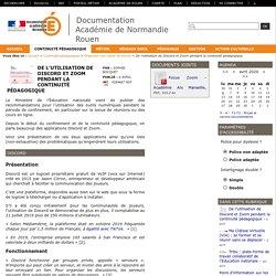 Documentation Académie de Normandie Rouen - De l'utilisation de Discord et Zoom pendant la continuité pédagogique