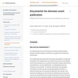 Documenter les données avant publication - Kit de ressources