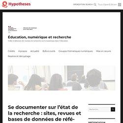 Se documenter sur l'état de la recherche : sites et bases de données de référence