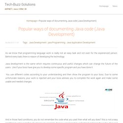 Popular ways of documenting Java code (Java Development)