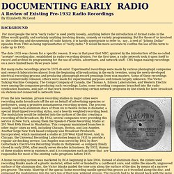 Documenting Early Radio