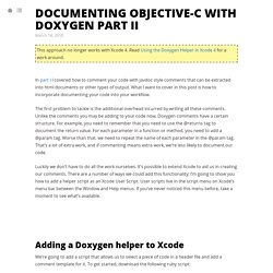 Documenting Objective-C with Doxygen Part II