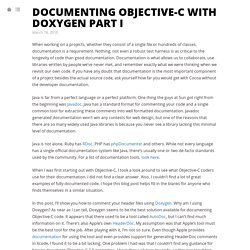 Documenting Objective-C with Doxygen Part I