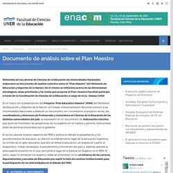 Documento de análisis sobre el Plan Maestro - Portal FCEDU UNER