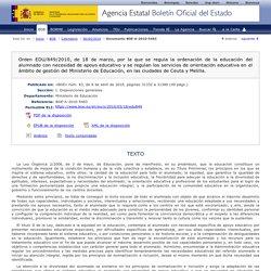 Orden EDU 849/2010. Orientación educativa y profesional.