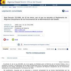 Real Decreto 33/1986, de 10 de enero, por el que se aprueba el Reglamento de Régimen Disciplinario de los Funcionarios de la Administración del Estado.