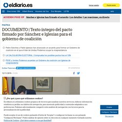 Texto íntegro del pacto firmado por Sánchez e Iglesias para el gobierno de coalición