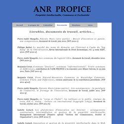 ANR Propice Propriété Intellectuelle, Communs et Exclusivité