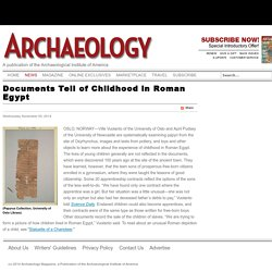 Documents Tell of Childhood in Roman Egypt