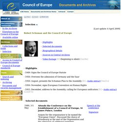 Council of Europe – Documents and Archives - Selection – Robert Schuman and the Council of Europe