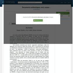 Documents authentiques, oral, corpus