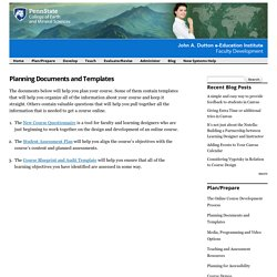 Planning Documents and Templates