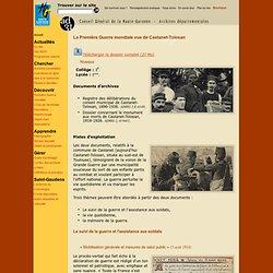 Documents éducatifs - La Première Guerre mondiale vue de Castanet-Tolosan