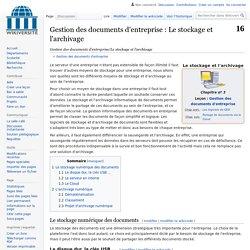 Gestion des documents d'entreprise/Le stockage et l'archivage
