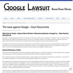 The case against Google - Court Documents