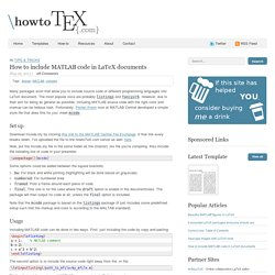 How to include MATLAB code in LaTeX documents
