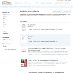 Find and share free documents on mergers and acquisitions - docs