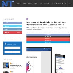 Des documents officiels confirment que Microsoft abandonne Windows Phone