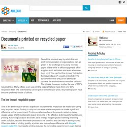 Documents Printed on Recycled Paper