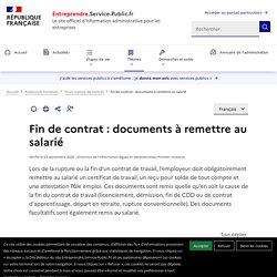 Fin de contrat : documents à remettre au salarié - professionnels
