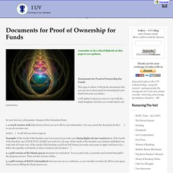 Documents for Proof of Ownership for Funds
