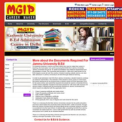 Documents required for Jammu University B.Ed