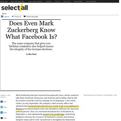 Does Even Mark Zuckerberg Know What Facebook Is?