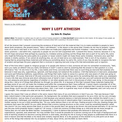 Why I Left Atheism