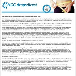 Does Health Canada recommend the use of HCG