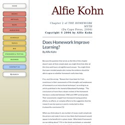 Does Homework Improve Learning?