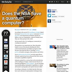 Does the NSA have a quantum computer?