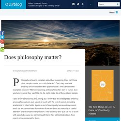 Does philosophy matter?