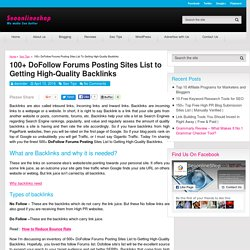 100+ DoFollow Forums Posting Sites List Manually Picked