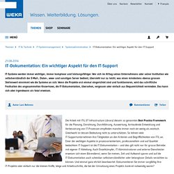 IT-Dokumentation: Ein wichtiger Aspekt für den IT-Support - weka.ch
