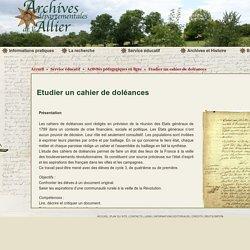 Etudier un cahier de doléances - Archives Départementales Allier