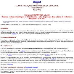 Françoise BOURROUILH-LE JAN Dolomie, roches dolomitiques et dolomitisation : bilan de presque deux siècles de recherches françaises : 1791-1971