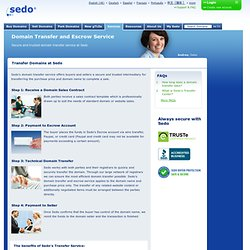Domain transfer and domain escrow is trusted and secure at Sedo