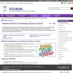 """Domaines artistiques - """"L'Ecole en choeur"""""""