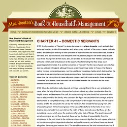 CHAPTER 41 – DOMESTIC SERVANTS | Mrs Beeton's Book of Household Management
