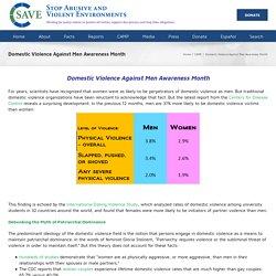 Domestic Violence Against Men Awareness Month