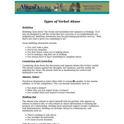 Domestic Violence - Types of Verbal Abuse