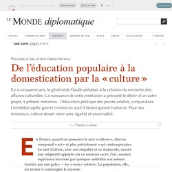 De l'éducation populaire à la domestication par la « culture », par Franck Lepage
