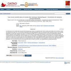 OATAO - 2006 - Les vices cachés dans la vente des animaux domestiques : inventaire et analyse jurisprudentiels.