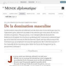 De la domination masculine, par Pierre Bourdieu (Le Monde diplomatique, août 1998)
