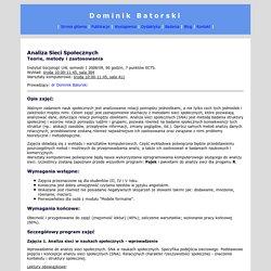 Dominik Batorski, Analiza Sieci Społecznych