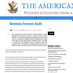Dominion Forensic Audit – The American Catholic