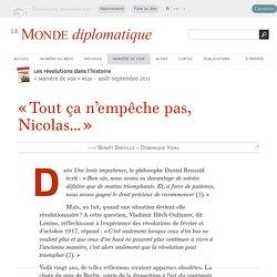 « Tout ça n'empêche pas, Nicolas... », par Benoît Bréville & Dominique Vidal (Le Monde diplomatique, août 2011)